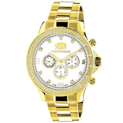 Luxurman Men'S White Mop Liberty 0.2Ct Diamond Yellow Gold-Plated Watch with Metal Band and Extr