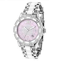 Luxurman Women'S 'Galaxy' White Ceramic 1.25Ct Diamond Watch