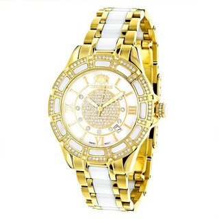Luxurman Women'S 'Galaxy' Yellow Gold Ceramic 1.25Ct Diamond Watch