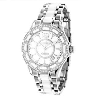 Luxurman Women'S 'Galaxy' White Mop Ceramic 1.25Ct Diamond Watch