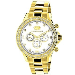 Luxurman Men's Liberty Yellow Gold-plated 2ct Diamond Watch with Metal Band and Extra Leather Straps
