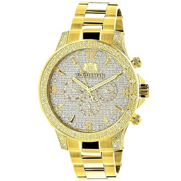 gold and diamond watches mens best watchess 2017 luxurman men s liberty 18k yellow gold plated diamond watch