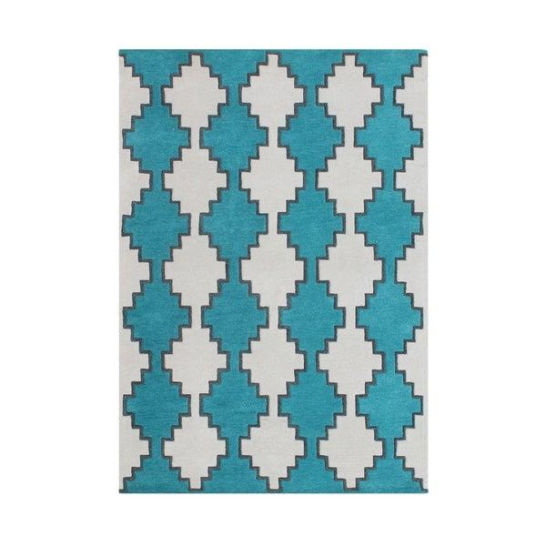 Handmade Peacock Blue New Zealand Blend Wool Rug - N/A - 8' x 10'