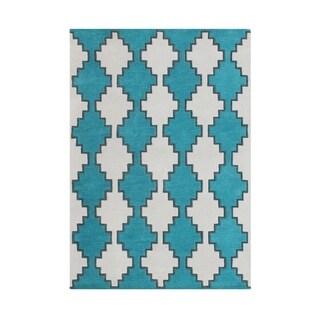 Handmade Peacock Blue New Zealand Blend Wool Rug (8' x 10')