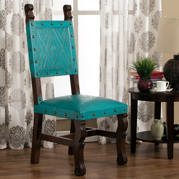 Handmade Turquoise Leather Upholstered Accent Chair Peru Free Shipping To
