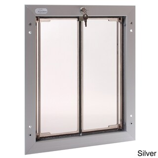 PlexiDor Performance Pet Door Large Door Mount (Option: Large, Silver, Door Mount)