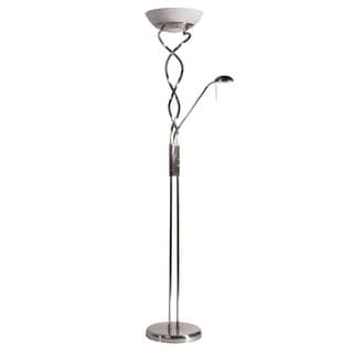 Twist Torchiere 3-light Satin Chrome Floor Lamp with Reading Light