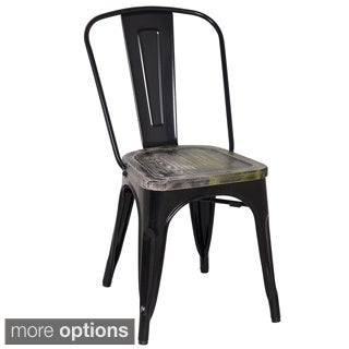 Black Frame Vintage Sheet Metal French Cafe and Bistro Armless Chairs (Set of 2)