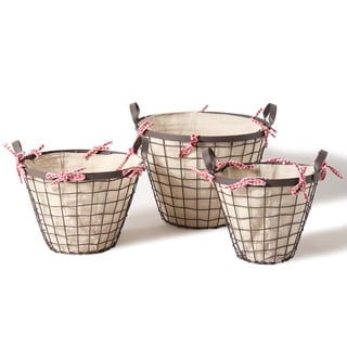 Adeco Bucket-shaped Rustic Iron Baskets (Set of 3)