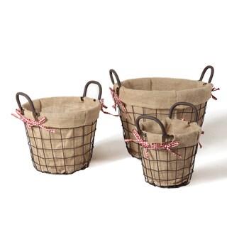 Adeco Circular Rustic Baskets (Set of 3)