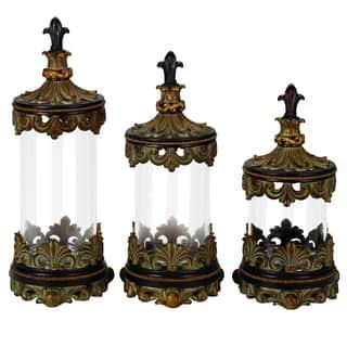 Casa Cortes Antiqued Gold Fleur-de-Lis 3-piece Glass Cylinder Canister Set|https://ak1.ostkcdn.com/images/products/8969545/Casa-Cortes-Antiqued-Gold-Fleur-de-Lis-3-piece-Glass-Cylinder-Canister-Set-P16178265.jpg?impolicy=medium