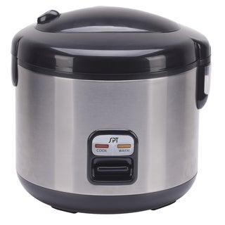 SPT Stainless Steel/ Black 6-cup Rice Cooker and Steamer