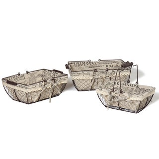 Newspaper Print Lined Iron Baskets (Set of 3)
