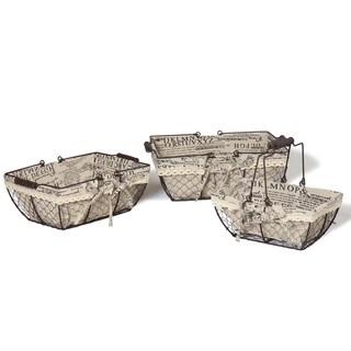 Newspaper Print Lined Iron Baskets (Set of 3)