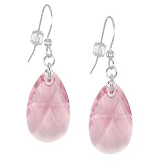 Handmade Jewelry by Dawn Large Pink Crystal Pear Sterling Silver Earrings (USA)