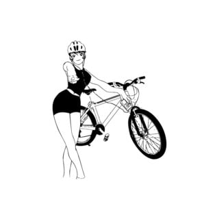 Girl With Bicycle Vinyl Wall Art Decal