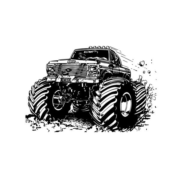 shop monster truck vinyl wall art decal - ships to canada