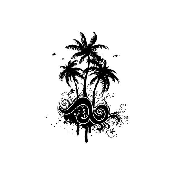 Palm Tree Seagals Vinyl Wall Art