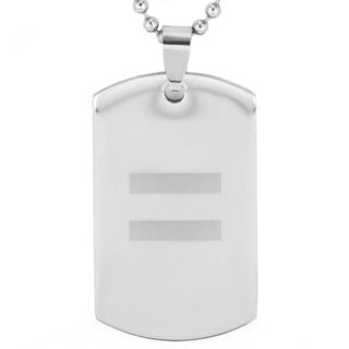 Stainless Steel Laser Etched Gay Rights Equality Dog Tag Pendant Necklace
