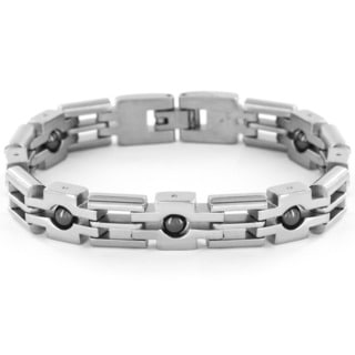 Stainless Steel Men's Black Ball and Cross Chain Polished Link Bracelet