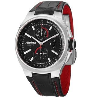 Alpina Men's AL-725B5AR26 'Racing' Black Dial Chronograph Black Leather Strap Watch