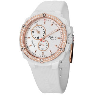 Alpina Women's AL-650LSSS3AEDC4 'Adventure' White Diamond Dial White Strap Watch
