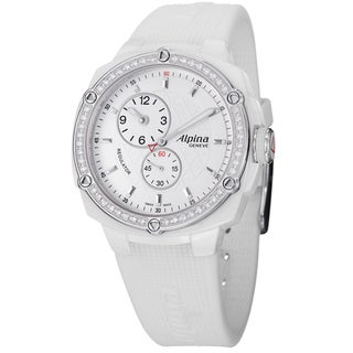 Alpina Women's AL-650LSSS3AEDC6 'Adventure' White Diamond Ceramic White Strap Watch