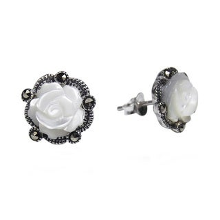 Handmade Carved Rose MOP and Marcasite .925 Silver Stud Earrings (Thailand)