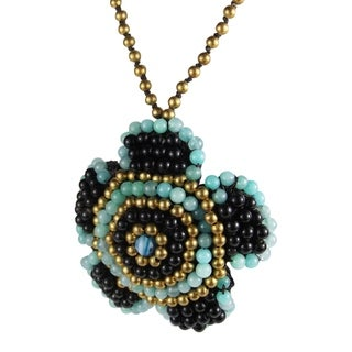Handmade Exotic Blue Daisy Embroidered Mix Stones Necklace (Thailand)