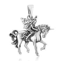 Handmade Wood Fairy Riding Unicorn .925 Sterling Silver Pendant (Thailand)