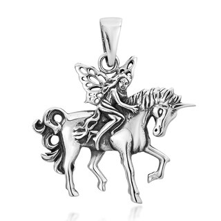Wood Fairy Riding Unicorn .925 Sterling Silver Pendant (Thailand)