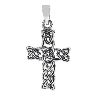 Handmade Celtic Triquetra Knot Cross Sterling Silver Pendant (Thailand) - White