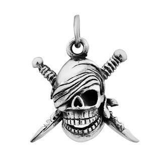 3D Skull Pirate Scimitar Blades .925 Silver Pendant (Thailand)
