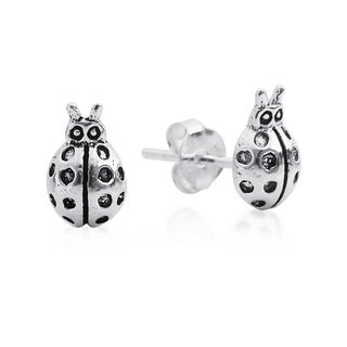 Charming Mini Lady Bug Sterling Silver Stud Earrings (Thailand)