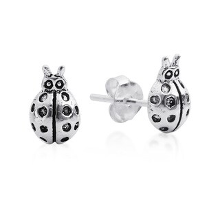 Handmade Charming Mini Lady Bug Sterling Silver Stud Earrings (Thailand)