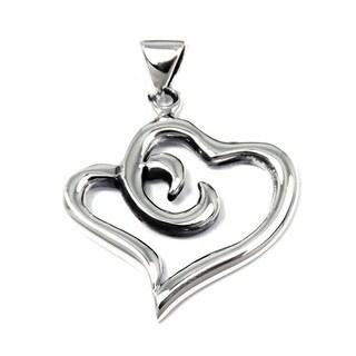 Sweet Double Intertwine Swirl Heart Sterling Silver Pendant (Thailand)