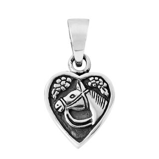 Lovely Jockey's Horse in Heart .925 Silver Pendant or Charm (Thailand)