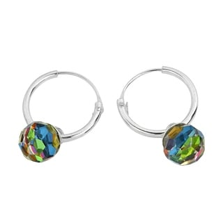 Handmade Rainbow Crystal Prism Ball .925 Silver Hoop Earrings (Thailand)