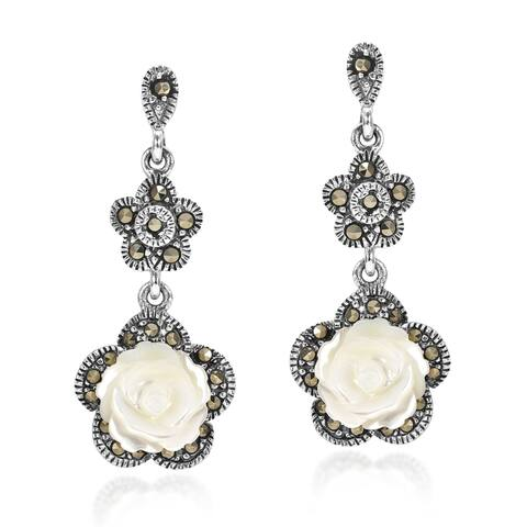Handmade Carved Rose MOP and Marcasite 925 Silver Drop Earrings (Thailand)