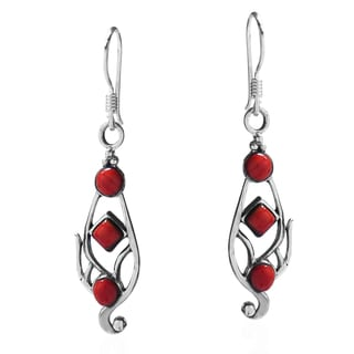 Handmade Vintage Swirl Coral Accented .925 Silver Dangle Earrings (Thailand)