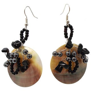 Crowned Disc Genuine Black Lip Shell Dangle Earrings (Thailand)
