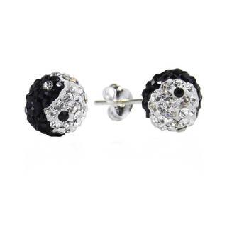 Handmade Yin Yang Balance Dome 8mm Ball .925 Silver Stud Earrings (Thailand)