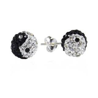 Yin Yang Balance Dome 8mm Ball .925 Silver Stud Earrings (Thailand)