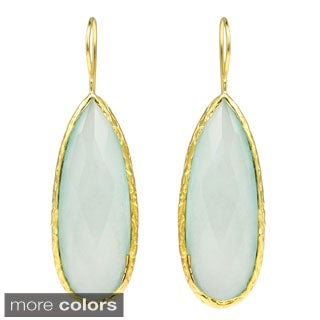 Teardrop Faceted Stone Gold over 925 Silver Drop Earrings (Thailand)