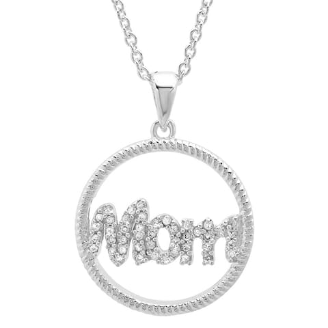 Sterling Essentials Silver Cubic Zirconia 'Mom' 16-inch Adjustable Necklace with 1-inch Extension