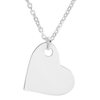 Sterling Essentials Silver 17 Inch Polished Sideways Heart Pendant Necklace
