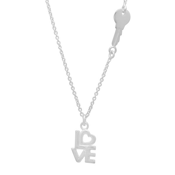 Sterling Essentials Silver Key to Love Necklace