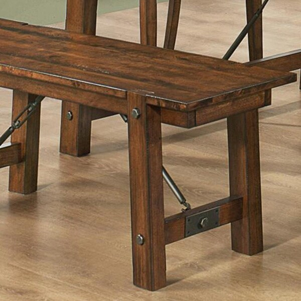 Vintage Rustic Pecan Wood Plank Dining Set   Free Shipping Today    Overstock.com   16179135
