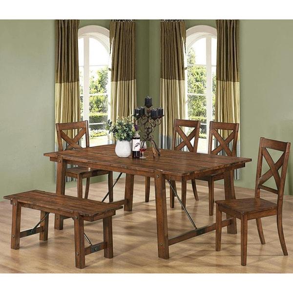 Retro Dining Room Set: Shop Vintage Rustic Pecan Wood Plank Dining Set