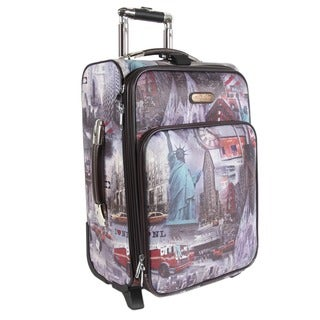 Nicole Lee New York Print 20-inch Expandable Rolling Carry-on